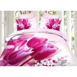 """Постельное белье из сатина 3D """"Тюльпаны"""" (розовые)"""